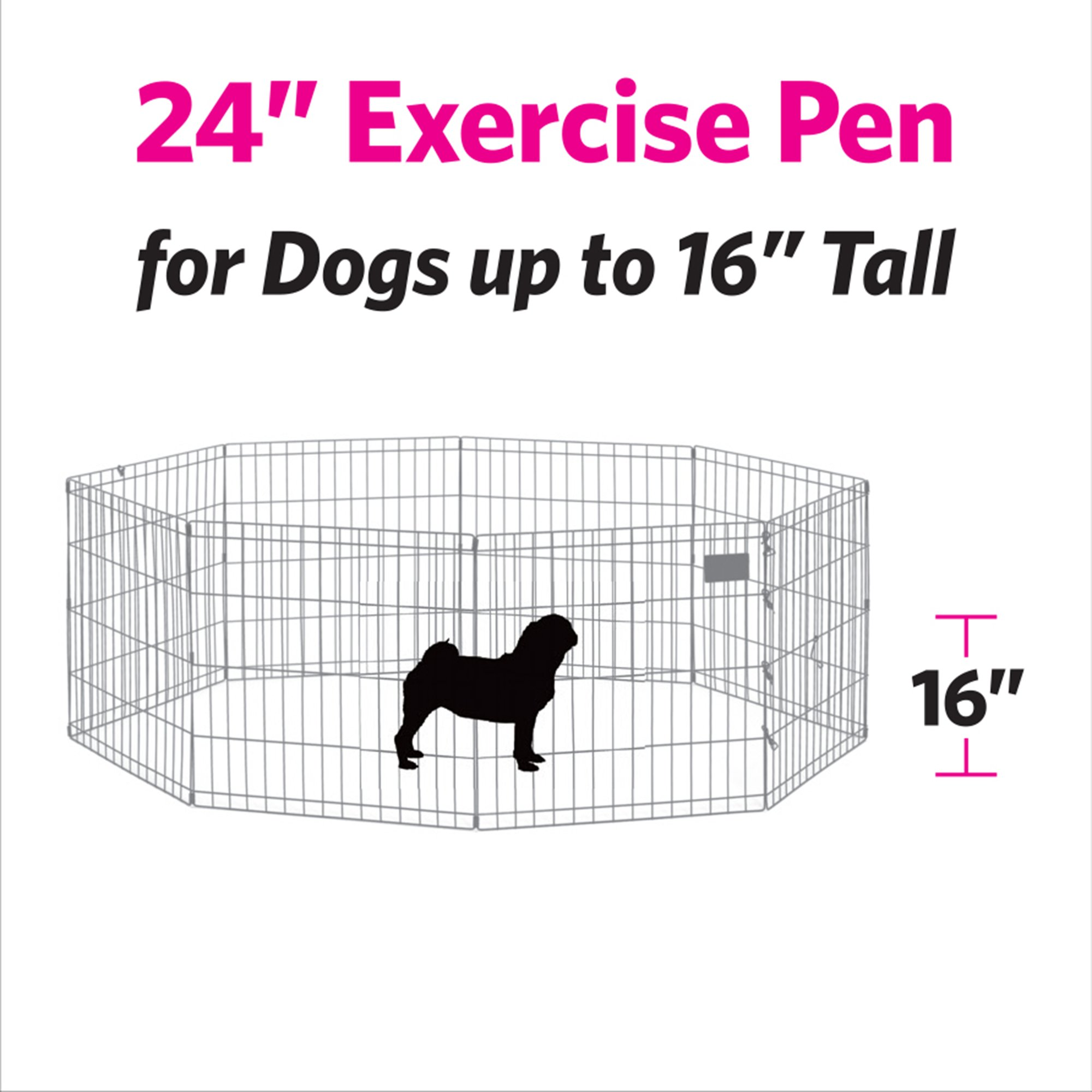 Midwest-Black-E-Coat-Exercise-Pen-w-Door-for-Dogs miniatuur 6