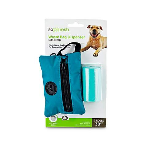 So Phresh Teal Fabric Dog Waste Bag Dispenser with Refills