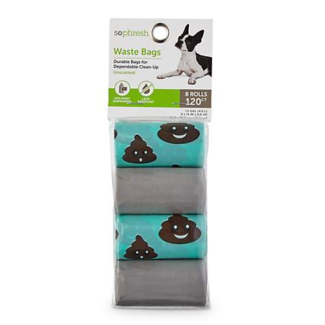 So Phresh Aqua and Light Grey Smiley Poop Dog Waste Bags, Count of 120