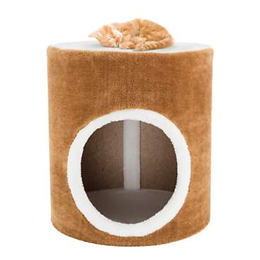 PETMAKER Barrel Cat Condo in Brown and White