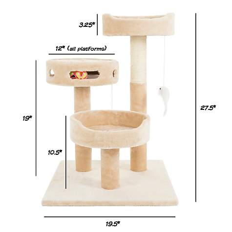 PETMAKER 3 Level Cat Tree with 2 Hanging Toys, Scratching Post and 3 Ball Play Area in Tan