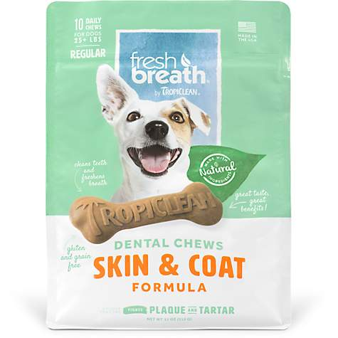 TropiClean Fresh Breath Regular Dental Chews Skin & Coat Formula for Dogs