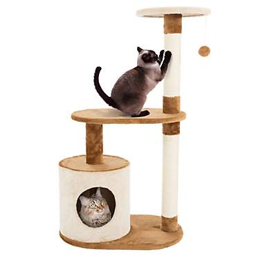 PETMAKER 3 Level Cat Tree Condo with Scratching Posts in Brown