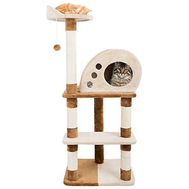 PETMAKER 4 Level Plush Cat Tower with Sisal Scratching Posts, Perch, Cat Condo and Hanging Toy