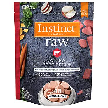 Instinct Frozen Raw Medallions Grain-Free Natural Beef Recipe Dog Food by Nature's Variety