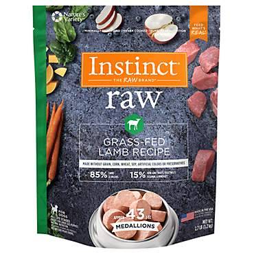 Instinct Frozen Raw Medallions Grain-Free Grass Fed Lamb Recipe Natural Dog Food by Nature's Variety