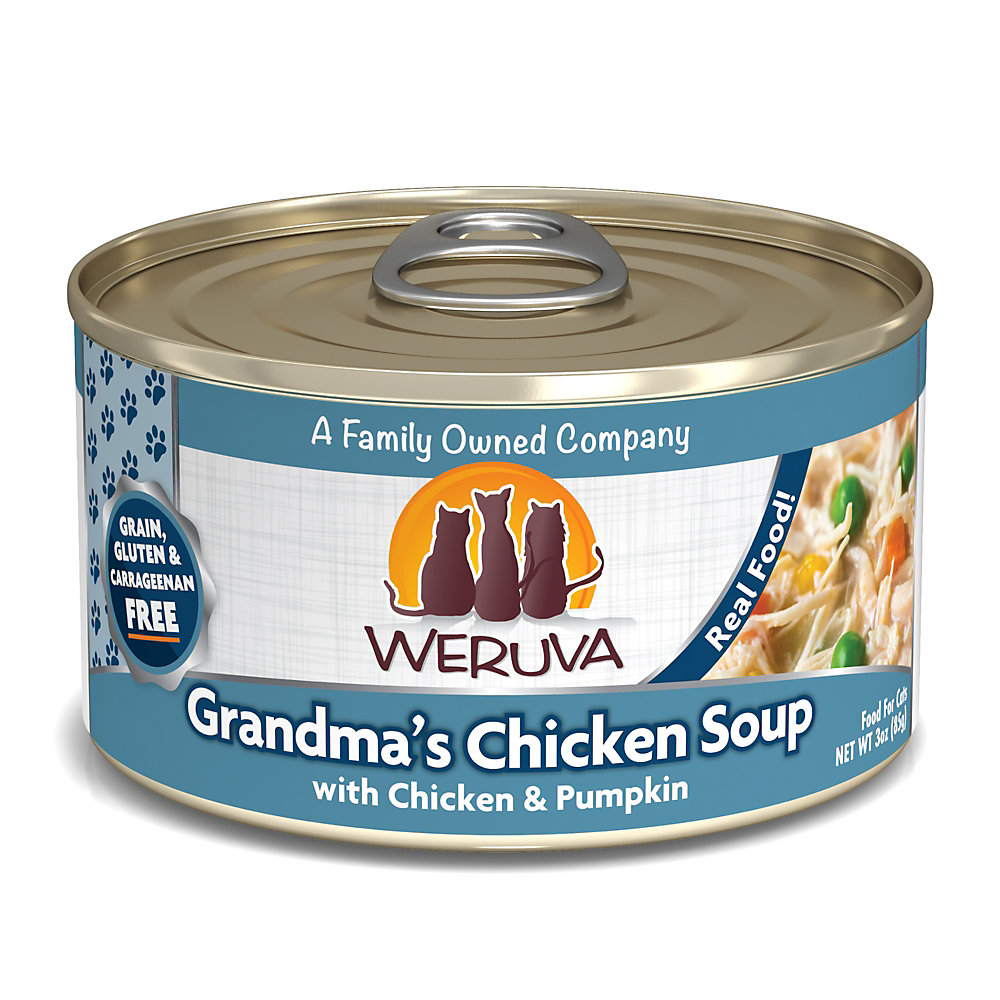 Weruva Classics Grandma's Chicken Soup with Chicken & Pumpkin in Pumpkin Soup Wet Cat Food, 3 oz., Case of 24