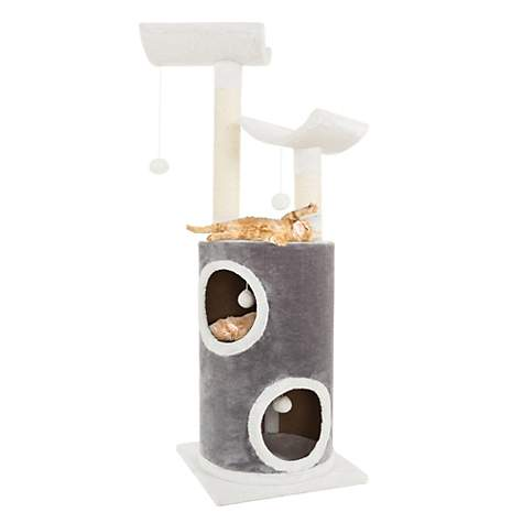 PETMAKER 5 Level Cat Tree Double Decker Condo with 4 Toys and 2 Scratching Posts in Gray