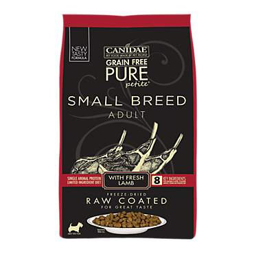 CANIDAE Grain Free PURE Petite Small Breed Dog Dry Raw Coated Formula with Lamb
