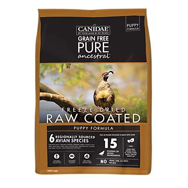 CANIDAE Grain Free PURE Ancestral Diet Puppy Avian Dry Raw Coated Formula with Quail, Chicken, & Turkey