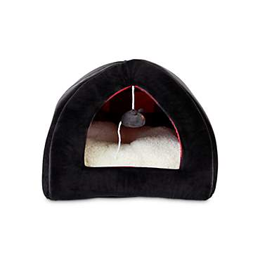 Harmony Black and Buffalo Check Hooded Igloo Cat Bed