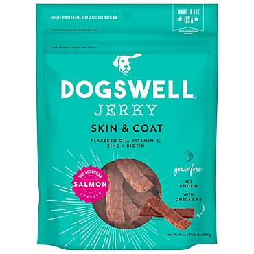 Dogswell Skin & Coat Jerky Grain-Free Salmon for Dogs