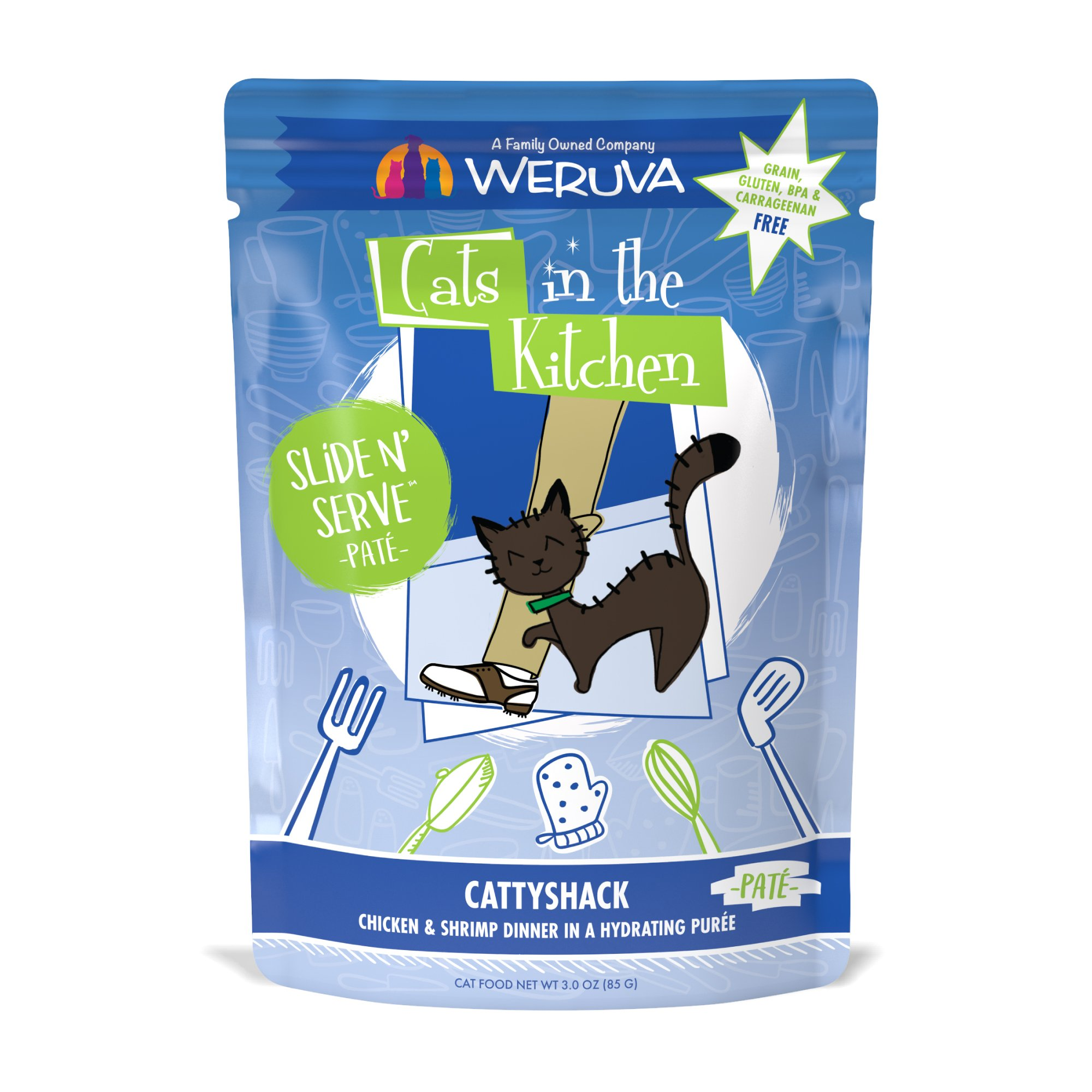Cats In The Kitchen Pate Cattyshack Chicken Shrimp Dinner In A Hydrating Puree Wet Cat Food 3 Oz Case Of 12 Petco