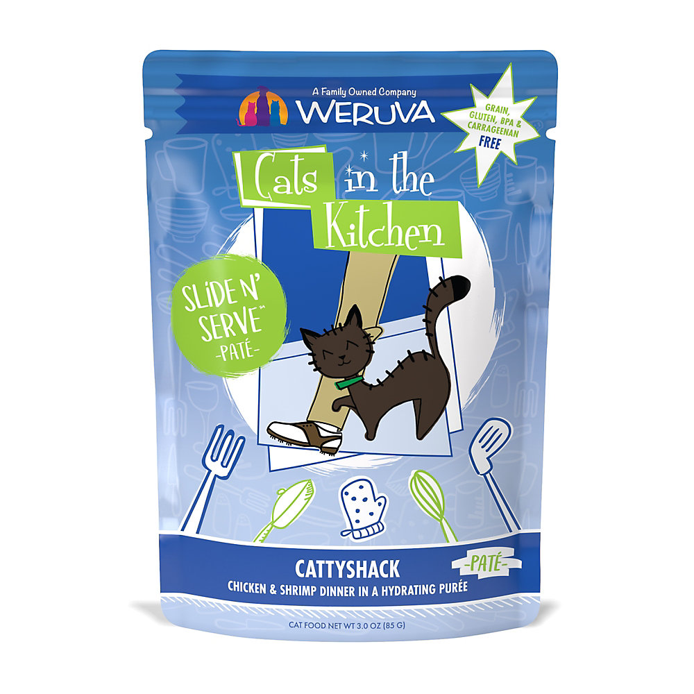 Cats in the Kitchen Pate Cattyshack Chicken & Shrimp Dinner in a Hydrating Puree Wet Cat Food, 3 oz., Case of 12
