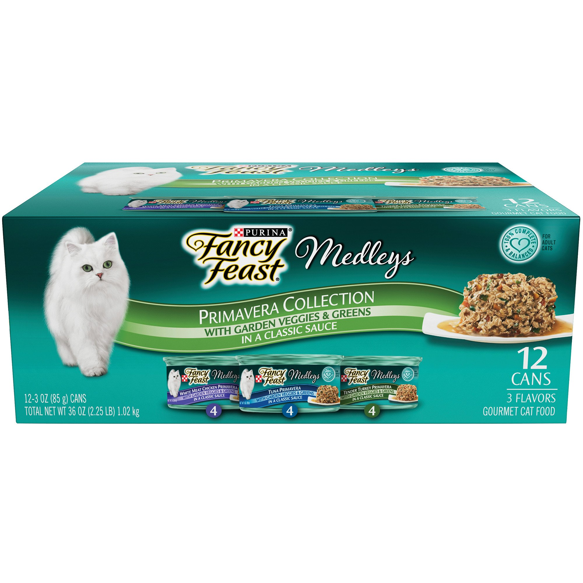 Purina Fancy Feast Medleys Primavera Collection Variety Pack Gravy Wet Cat Food, 3 oz., Count of 12, Can