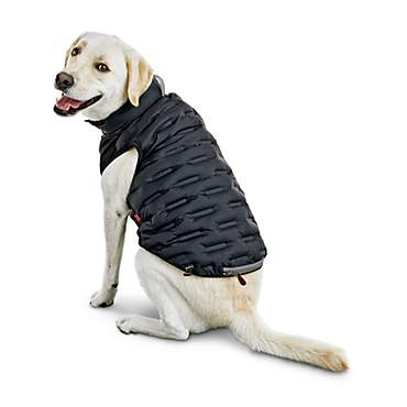Reddy Black Zip-and-Stow Dog Puffer Jacket