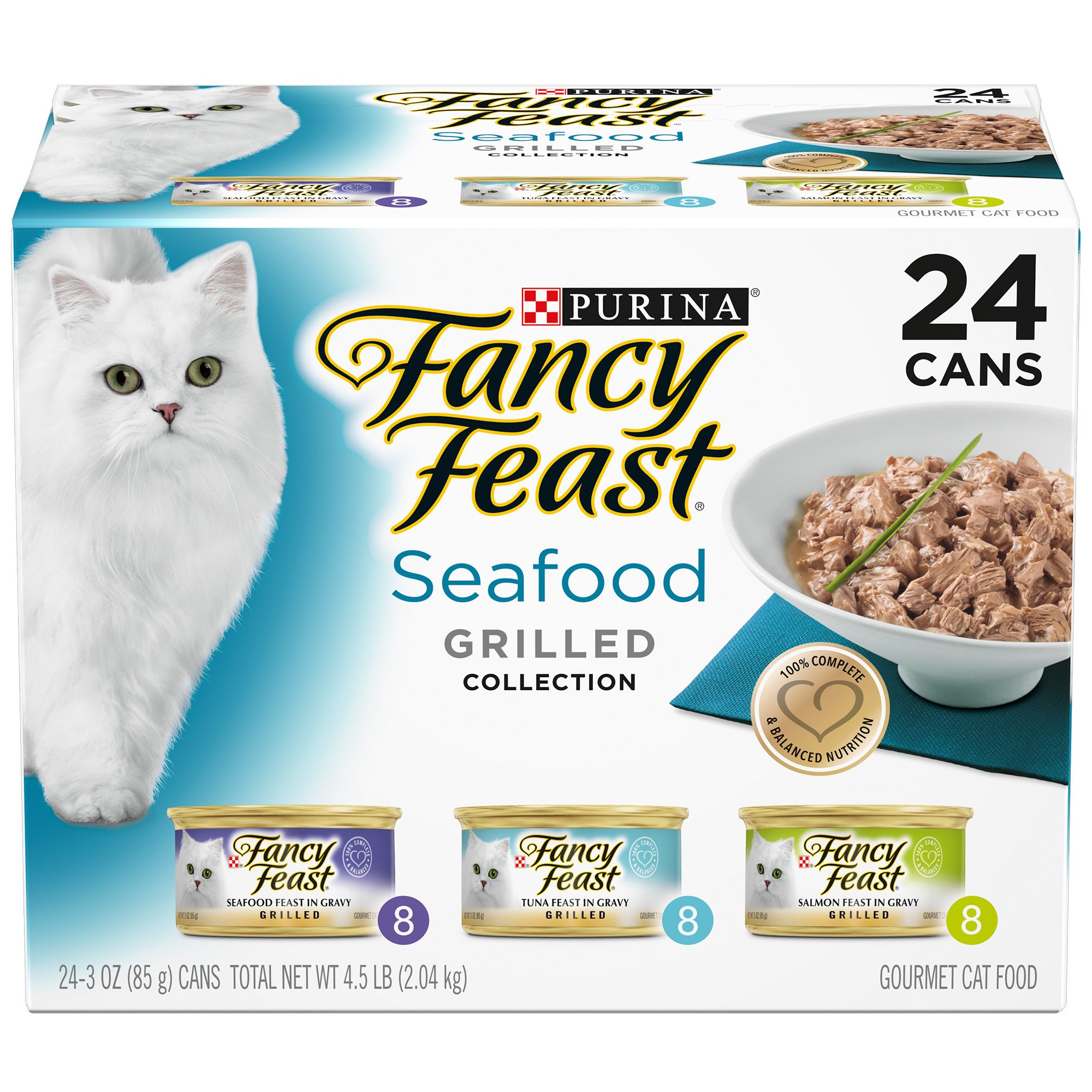 Purina Fancy Feast Seafood Grilled Collection Variety Pack Gravy Wet Cat Food, 3 oz., Count of 24, Can