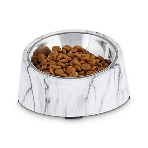 Harmony Slanted Marble Print Base And Stainless Steel Dog Bowl Set 1 7 Cups