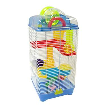 YML 3 Level Plastic Clear & Blue Hamster Cage