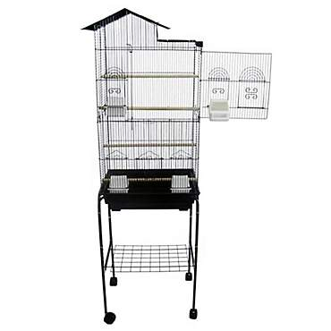 YML Bar Spacing Tall Villa Top Black Bird Cage With Stand