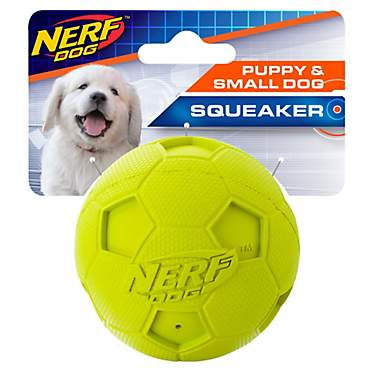 Nerf Soccer Squeak Ball Green Dog Toy