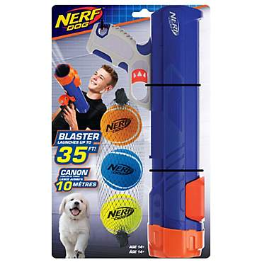Nerf Gift Set Blaster & Three Squeak Tennis Balls Blue/Orange/Gray and Blue, Green and Orange Dog Toy