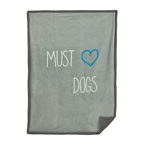 Territory Must Love Dogs Soft-Sherpa Pet Blanket with Grey Trim