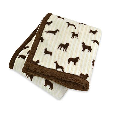Territory Doggy Print Soft-Sherpa Pet Blanket With Brown Trim