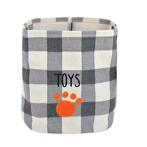 Territory Canvas Storage Bin for Pets With Plaid Dog Print