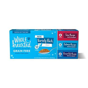 WholeHearted Grain Free Pate Catch of the Day Wet Cat Food Variety Pack for All Life Stages