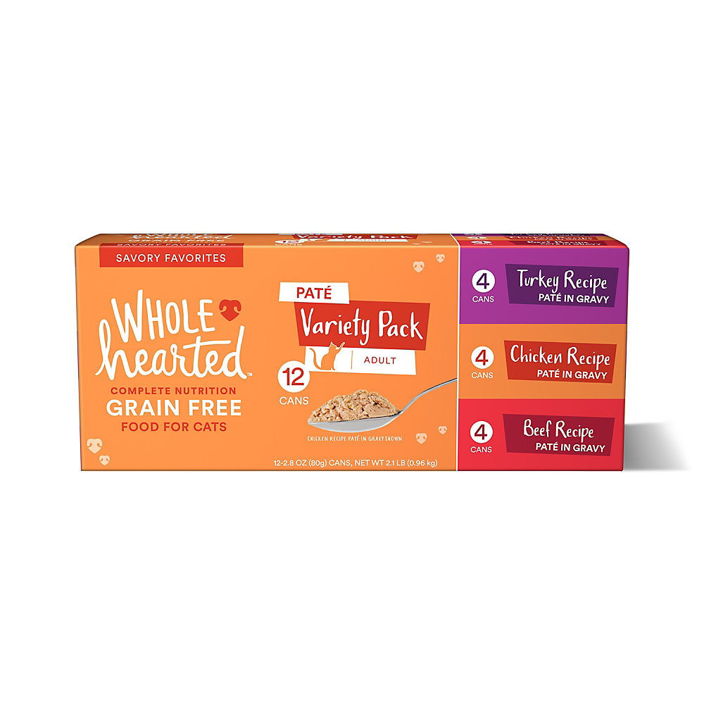 WholeHearted Grain Free Pate Savory Favorites Adult Wet Cat Food Variety Pack, 2.8 oz.