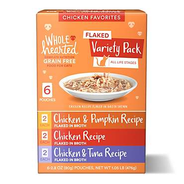 WholeHearted Grain Free Chicken Favorites Flaked Wet Cat Food Variety Pack for All Life Stages