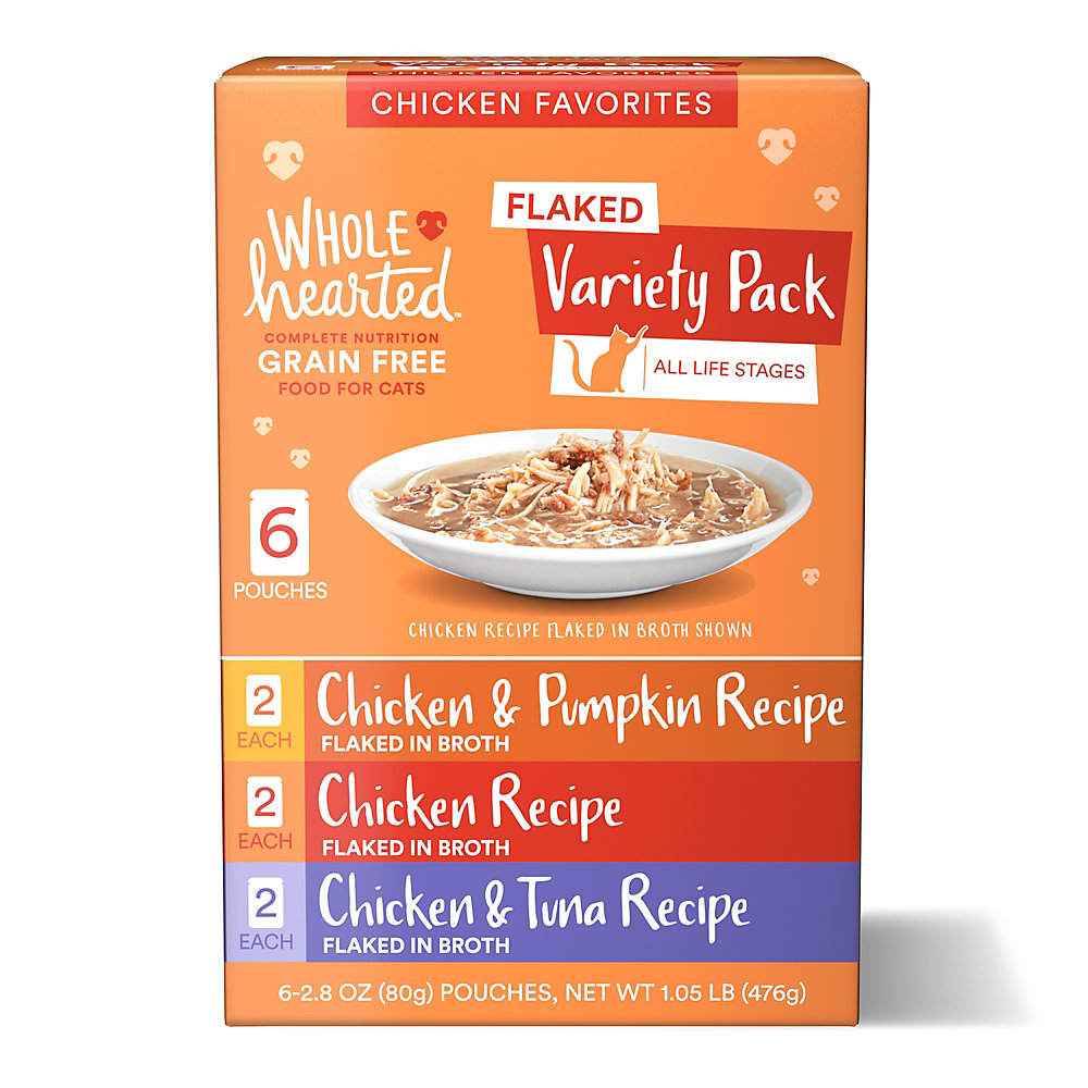 WholeHearted Grain Free Chicken Favorites Flaked Wet Cat Food Variety Pack for All Life Stages, 2.8 oz. 6 count
