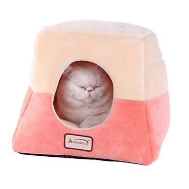 Armarkat House Cat Bed in Orange and Beige