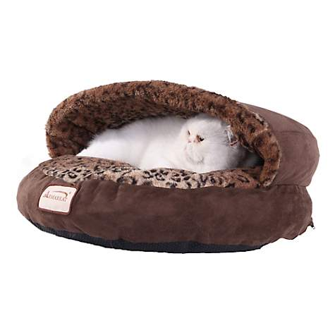 Armarkat Canopy Cat Bed in Mocha and Leopard