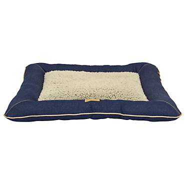 Dallas Manufacturing Denim Pillow Grey Piping Dog Bed