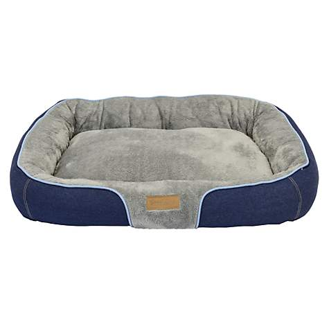 Dallas Manufacturing Denim Bolster Blue Piping Dog Bed