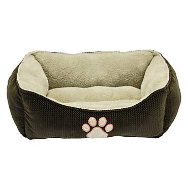 Dallas Manufacturing ZigZag Box Brown Piping Dog Bed