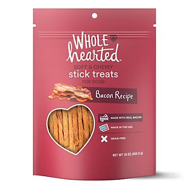 WholeHearted Grain Free Soft and Chewy Bacon Recipe Dog Stick Treats