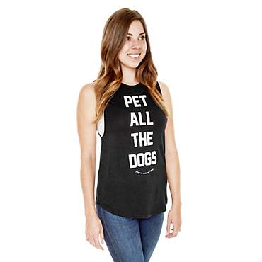 Puppies Make Me Happy Pet All the Dogs Black Tank