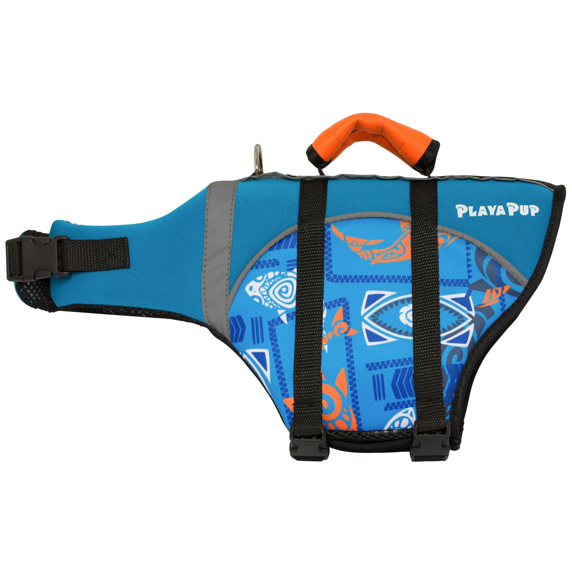 Image of Playa Pup Pet Flotation Vest Blue Shark, Medium, Blue / Orange