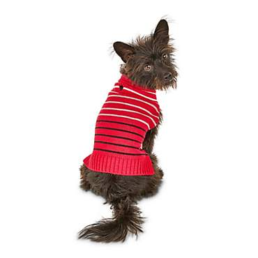 Bond & Co. Red Knit Striped Dog Sweater