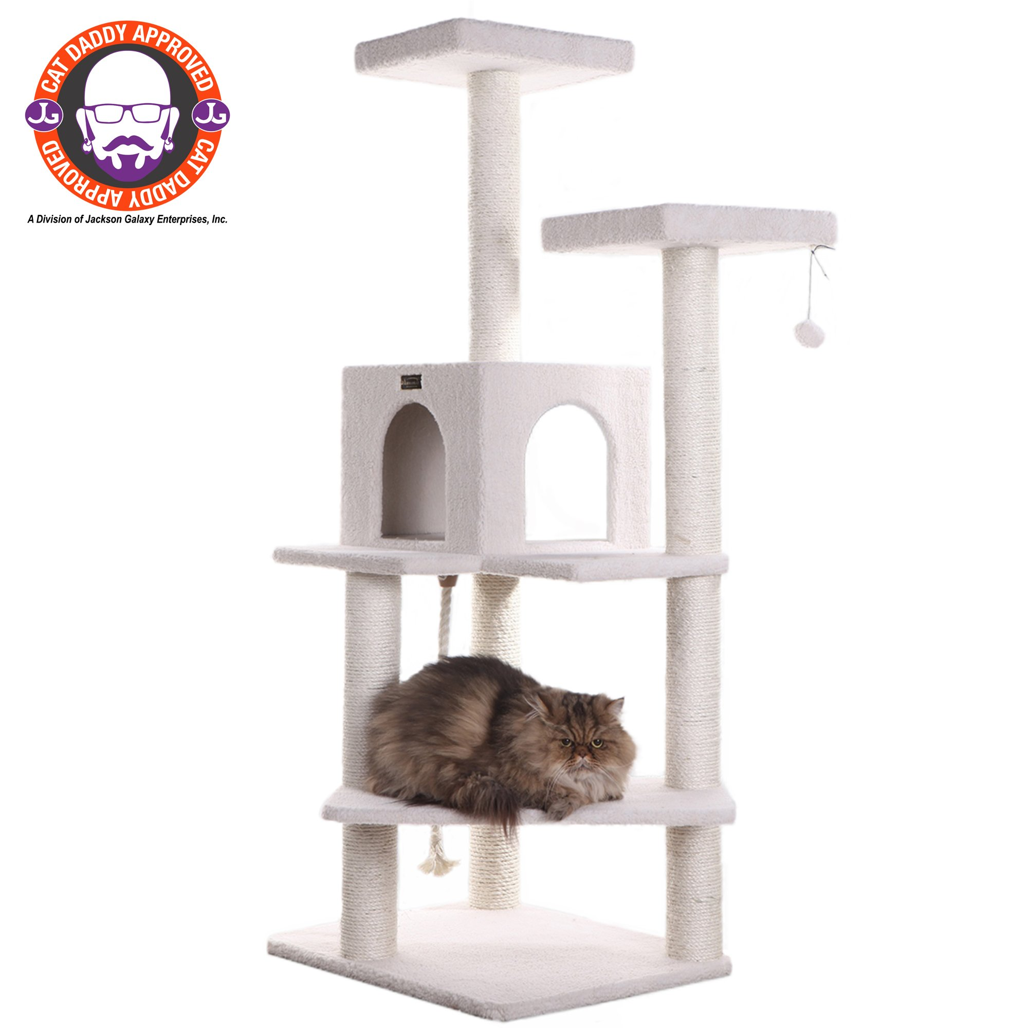 "Armarkat Classic Model B5701 Cat Tree, 57"" H, 28 In, Off White"