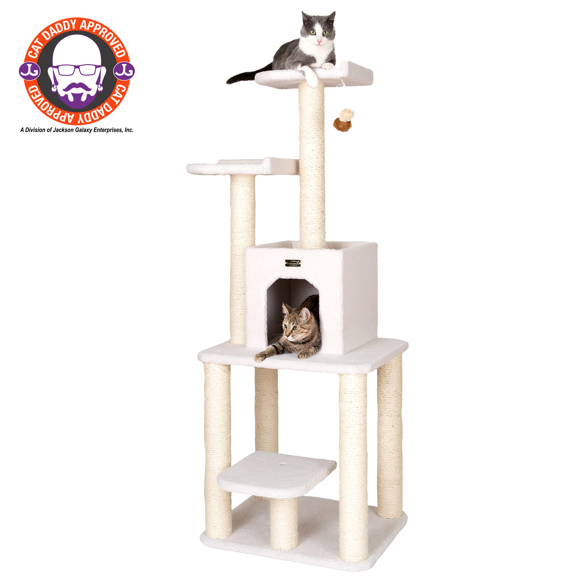 "Armarkat Classic Model B6203 Cat Tree, 62"" H, 28 In, Off White"