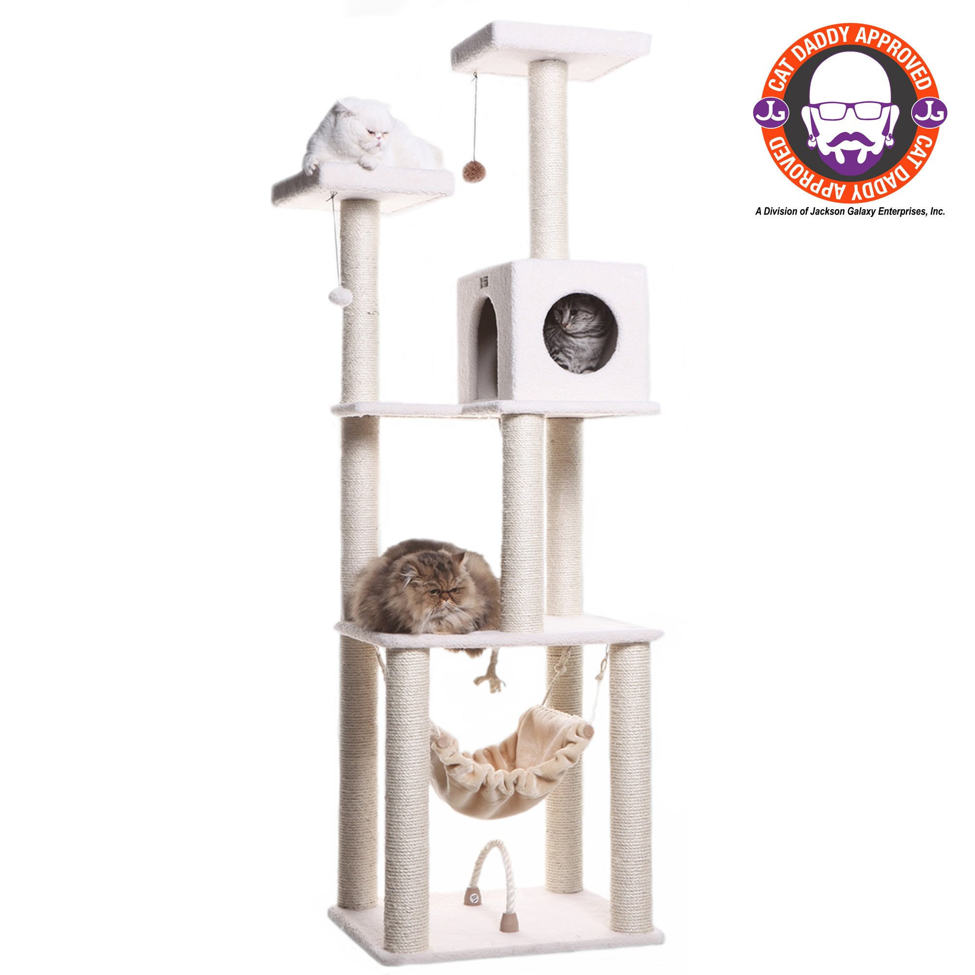 "Armarkat Classic Model B7301 Cat Tree, 73"" H, 27 In, Off White"
