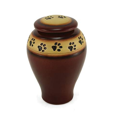 A Pet S Life Personalized Ceramic Paw Print Cremation Urn Red Pet Memorial For Pet Weight Up To 60 Lbs Medium