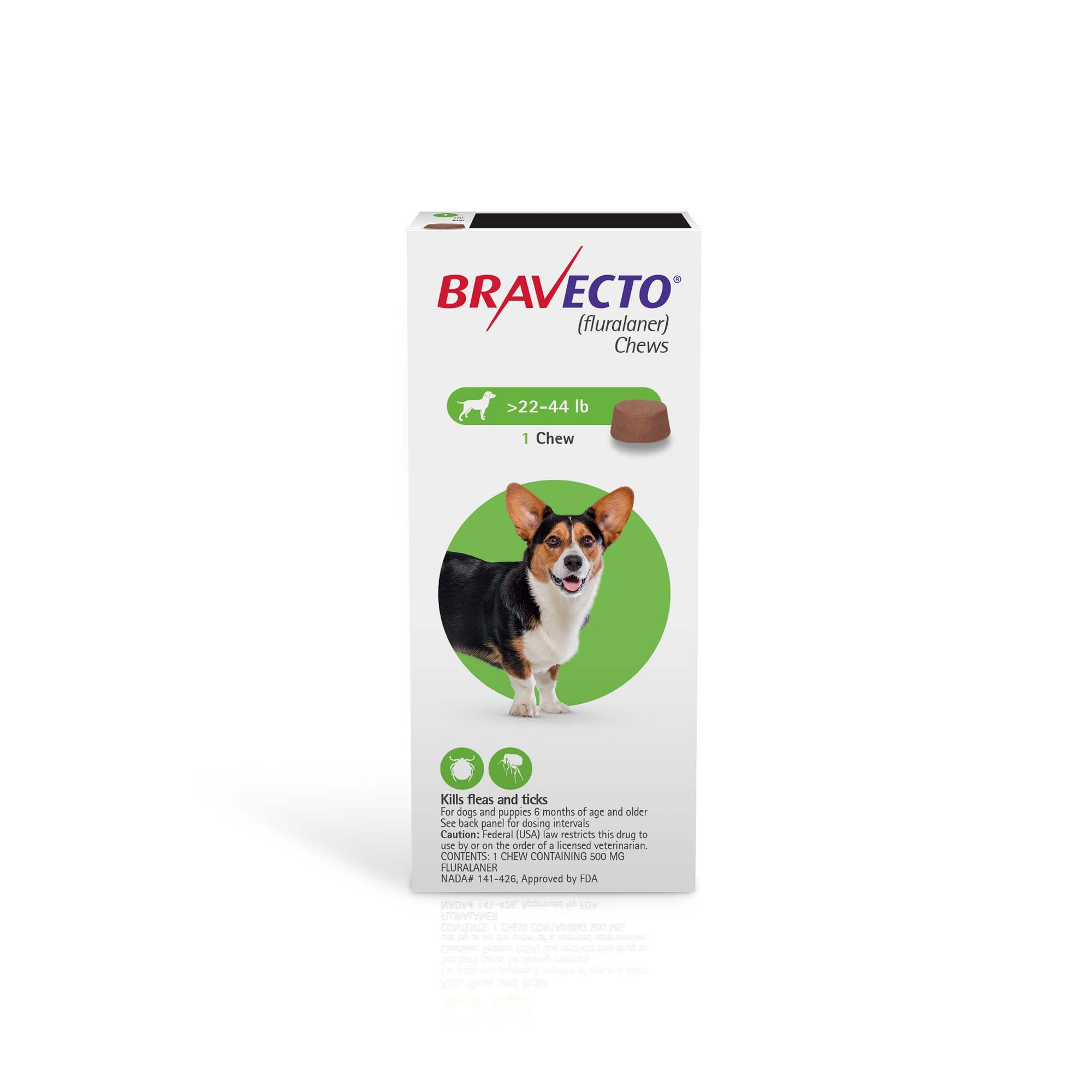 Bravecto Chews for Dogs 22-44 lbs , Single 12-Week Dose | Petco