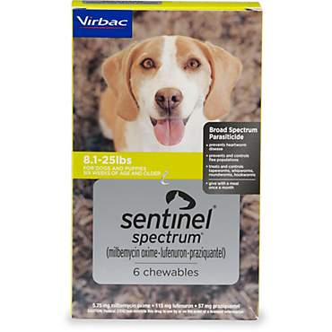 Sentinel Spectrum Chewables for Dogs 8.1 to 25 lbs.