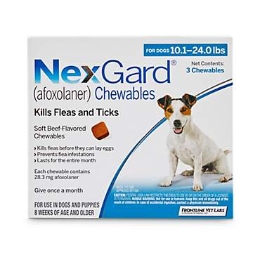 NexGard Chewables - Blue for Dogs 10.1 to 24 lbs.