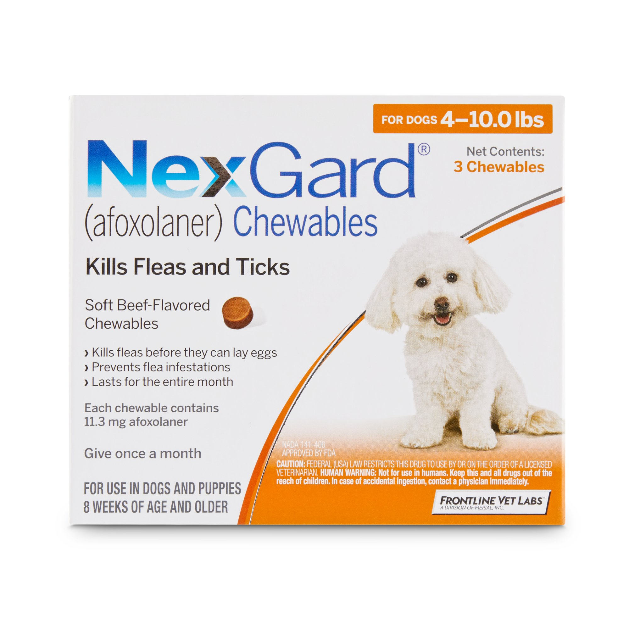Nexgard Chewables Orange For Dogs 4 To 10 Lbs 3 Pack Petco